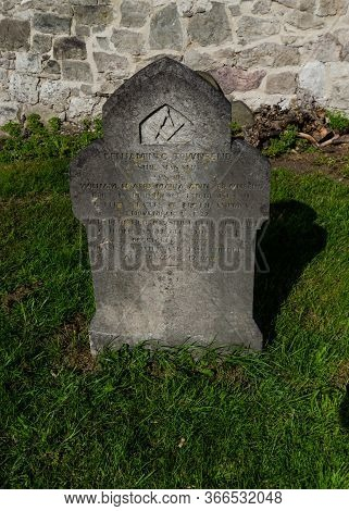 Abergele, Uk: Aug 19, 2019: The Cemetery At St. Michael's Church Contains This Unusual Headstone. It