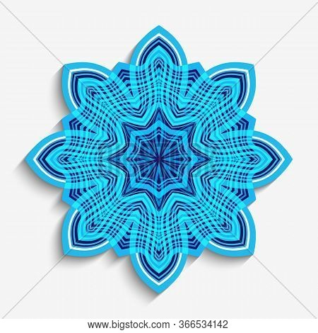 Round Mandala Ornament With Wavy Lines. Cutout Paper Snowflake Decoration On White Background.