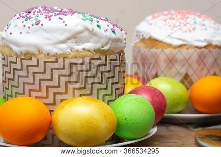 Compilation Of Easter Cakes And Painted Multi-colored Eggs