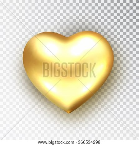 Gold Heart Isolated. Realistic Vector Of Metallic Heart Shape. Happy Valentines Day Design Element.