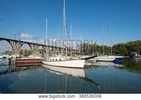 Yachts And Boats At The Pier On The River. Dnepr River , Dnepr , Ukraine. Beauty