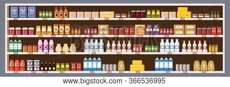 Supermarket Grocery Shelf Store Retail Shop With Dairy Products Assortment Mall. Vector Isolated Ilu
