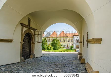 Levoca, Slovakia - arcades of old town hall