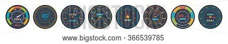 Engine Speedometer Icons Set In Flat Design. Set Of Car Speedometer Level Indicator Icons Isolated O