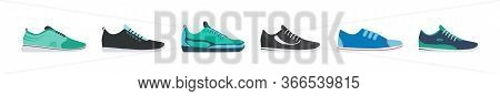 Sneaker Shoe. Athletic Sneakers, Fitness Sport Shop Footwear Collection On White Background. Set Of