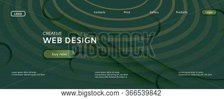 Camouflage Landing Page Design. Abstract Flow Line Pattern. Color Creative Background. Green Geometr