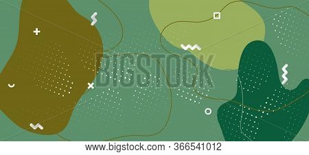 Modern Camouflage Composition. Graphic Forest Wave Cover. Creative Green Military Ornament. Minimal