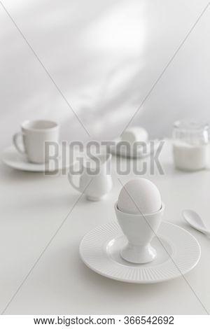 Minimal White Breakfast, Goat Cheese, Milk, Plain Yogurt, Boiled Egg