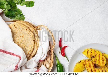 Mexican Cuisine Food Frame - Ingredients For Mexican Tacos Al Pastor, Corn Tortillas, Chili Pepper,