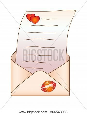Open Envelope With A Love Message - Vector Full Color Picture. Envelope With A Letter, Hearts And Im