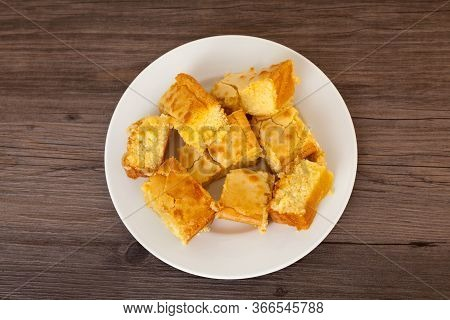 Plate Of White Chocolate Blondies - Top Down View With Copy Space