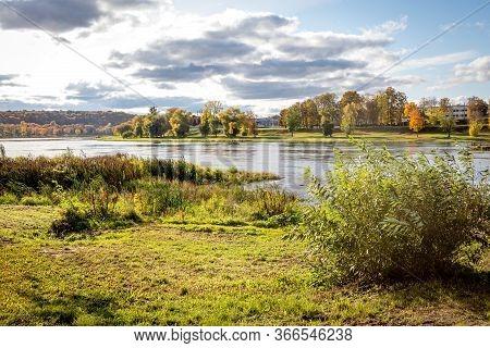 Autumn In Lithuania. The Longest River Of Lithuania, Nemunas Near Panemune Bridge In Kaunas