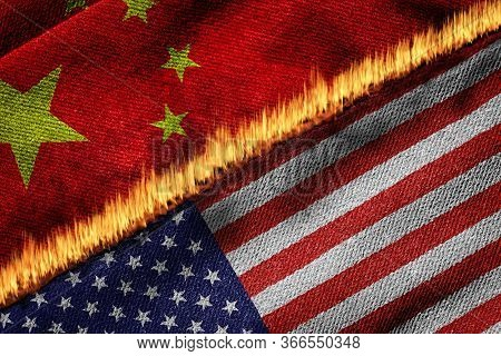 3d Rendering Of The Flags Of Usa And China On Fire. Concept Of Conflict Between The 2 Countries Due