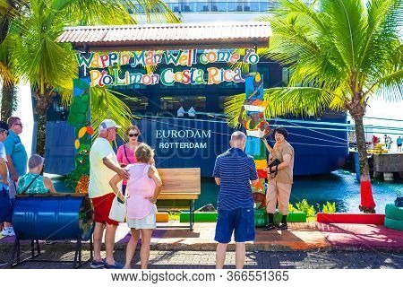 Puerto Limon, Costa Rica - December 9, 2019:the People Going Near Holland America Cruise Ship Euroda