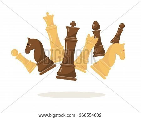 Fluing Chess Figures On White Background. White And Black Chess Set Vector Illustration. Collection