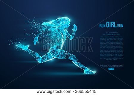 Abstract Silhouette Of A Wireframe Running Athlete, Woman On The Blue Background. Neon Light. Athlet