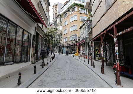 Istanbul, Turkey - May 13, 2020: Empty Streets In Beyoglu During Coronavirus Pandemic