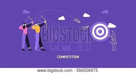Target Business Illustration Vector Aim Backgorund. Business Man And Woman Compete In Reaching Aims.