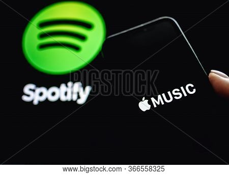 Screen Shot Of Apple Music App And Spotify. Apple Music And Spotify The Most Popular Music Streaming