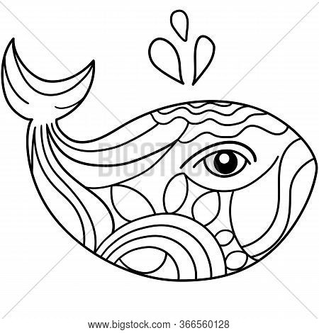 Coloring Whale Drawing, Doodle Whale Illustration For Coloring Book, Cute Whale Outline Drawing For