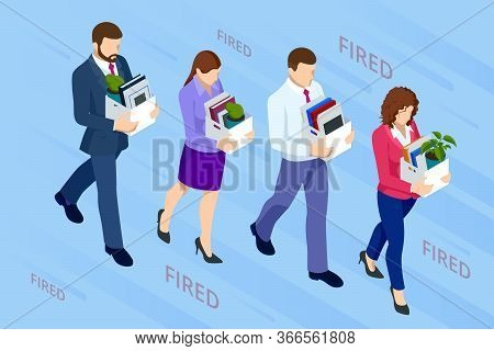 Isometric Dismissed Frustrated Business Person Holding A Box With His Things. Unemployment, Crisis,