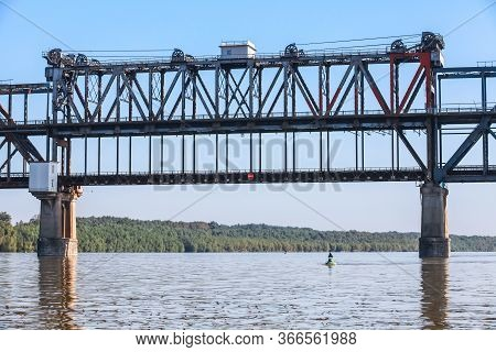 Danube Bridge, Central Section. Steel Truss Bridge Over The Danube River Connecting Bulgarian And Ro