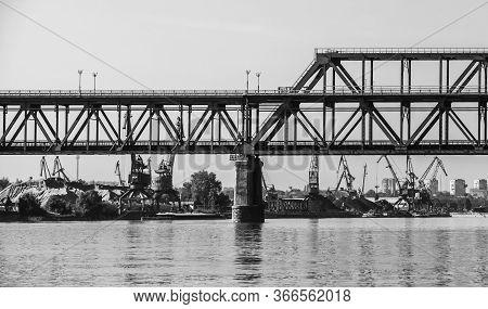 Danube Bridge, Black And White Photo. Steel Truss Bridge Over The Danube River Connecting Bulgarian