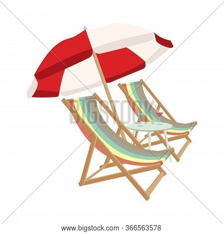 Relaxing Scene On A Breezy Day, Two Deck Chair, Umbrella And A Cocktail Table.