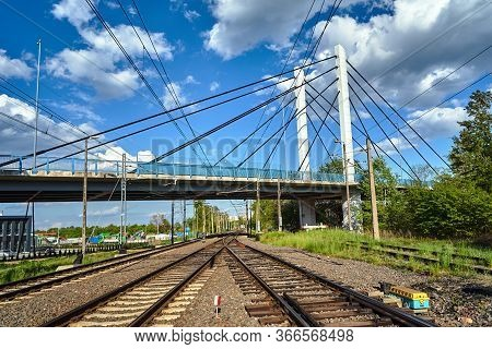 Cable-stayed Road Bridge Over Railway Tracks In Poland