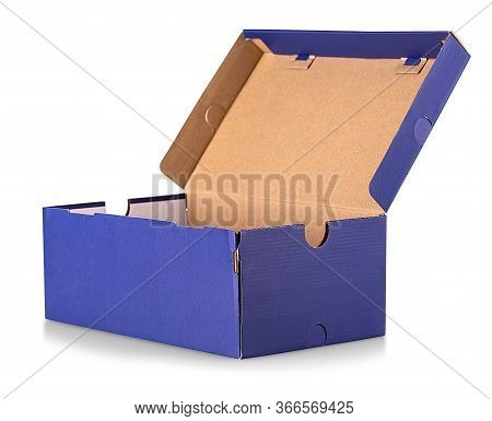The Blue Open Shoe Box Isolated On White Background. Clipping Path