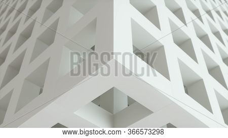 White Grey Cubes Business Background. Abstract Architecture Beautiful Seamless Cubic Puzzle. 3d Rend