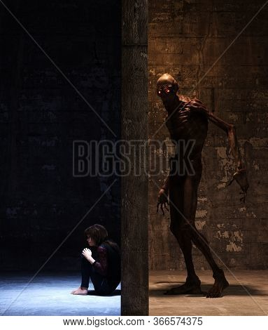 Girl Hiding From Bogeyman,3d Rendering For Book Cover