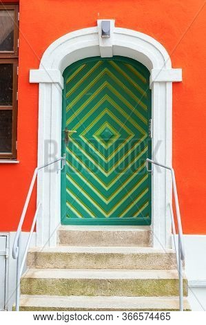 Colorful Old Door In Stralsund, Germany