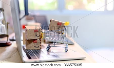 Online Shopping And Home Delivery Concept. Lock Down And Self-quarantine For Work Home. Sme Business