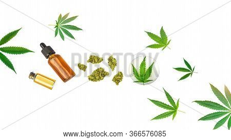 Assorted Medical Cannabis Products Cbd And Thc Oils Lotion On Flower Buds Isolated On White