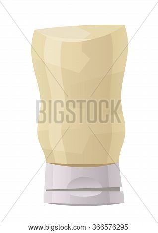 Glossy Plastic Bottle For White Sauce Dressing Mayonnaise Vector