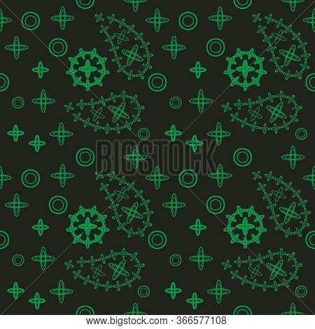 Linocut Style Hand Drawn Meadow Flowers - Seamless Pattern. Wildflowers In Modern Cutout Style Isola