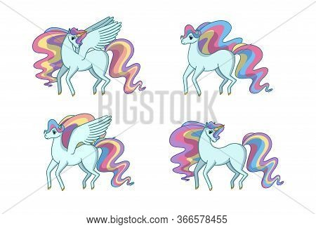 Set Of Alicorn, Unicorn, Pegasus And Horse With Waving Rainbow Mane And Tail. Vector Illustration In