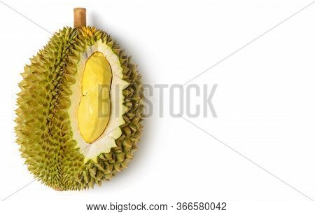 King  Of Fruits, Yellow Durian In Side Mon Thong Durian Fruit Isolated On White Background, Summer F