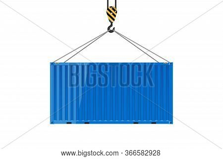 Cargo Shipping Container For The Carriage Of Cargo. Freight Shipping Container Hanging On Crane Hook