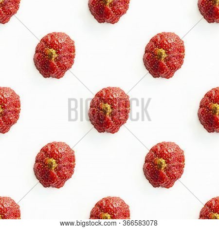 Photographic Collage, Seamless Pattern With Ugly Strawberries With Yellow Tip On White Background To