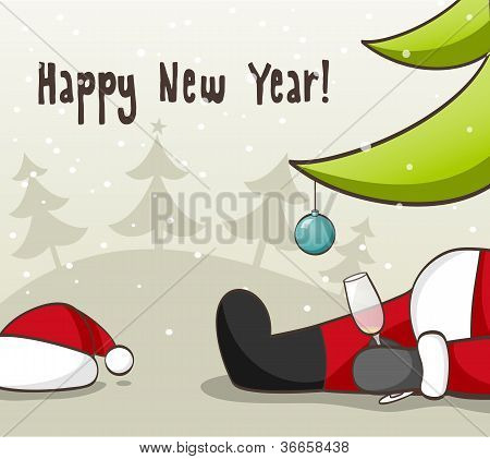 Drunk Santa Claus . EPS 10 vector iluustration for Christmas design. poster