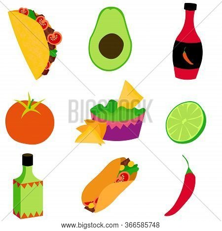 A Set Of Mexican Food. Avocado, Chili Peppers, Burritos, Tacos, Nachos And Other Delicious Dishes. N