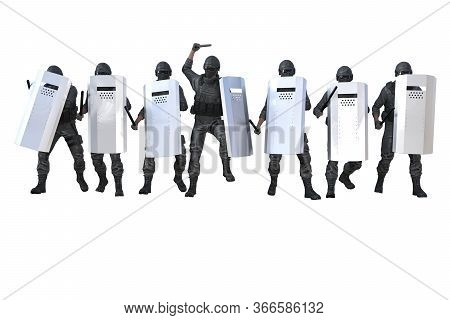 Police Guards Marching And Attacking On Revolt Isolated On White Background - Military 3d Illustrati