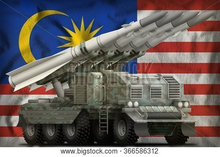 Tactical Short Range Ballistic Missile With Arctic Camouflage On The Malaysia Flag Background. 3d Il