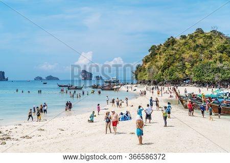 Thale Waek, Krabi, Thailand - February 12, 2020:  Tourists Travel Come To Visit On White Sand Dune B