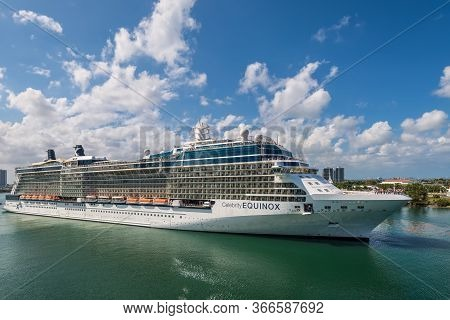 Miami, Fl, United States - April 28, 2019: Cruise Ship Celebrity Equinox Sailing From The Pier In Mi