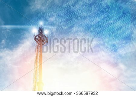 5g Telecommunications Antenna On A Blue Sky With A Chip Image. Copy Space. Concept Of Communication,