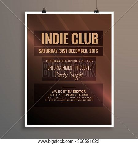 Indie Club Dj Party Night Flyer Banner Template Vector Design Illustration