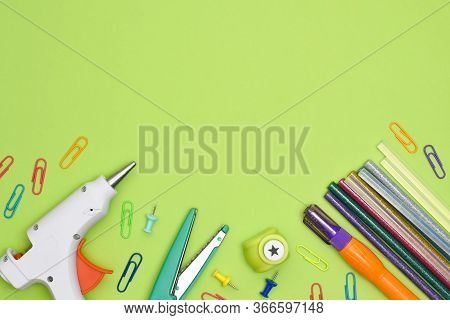 Craft Table Top View. Tools And Stationery Items For Creating Cards And Presents. Glue Gun, Glue, Cr